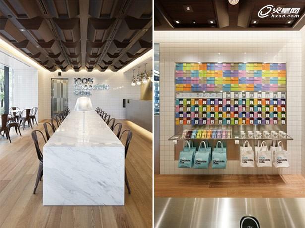 包装盒装饰墙面 日本巧克力咖啡馆设计