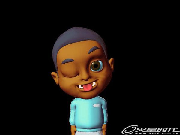 导言 非洲小男孩贝贝是北京一家幼儿园广告宣传系列片中的主角,贝贝在片中有非常多的表情展现。大家都知道,孩子的表情是最丰富多彩的了,尤其是在一些卡通风格浓重的片子里面,好的表情设置会让我们的动画更加生动.逼真。现在,我们就来一起研究一下表情动画的制作方法,希望对你能有所帮助。   因故该动画视频不能提供给大家,请大家见谅!现截取几张表情截图,让大家欣赏一下。         现在我们开始吧。 1.