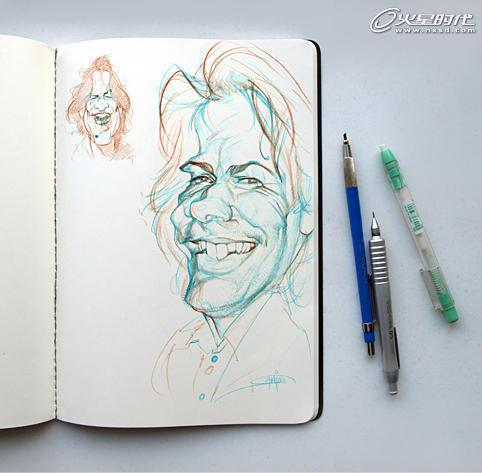 素描作品,之后进入电脑着色.我试图将面部特征、光感、阴影