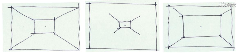 两点透视构图时我们要根据空间尺寸来调整空间结构在