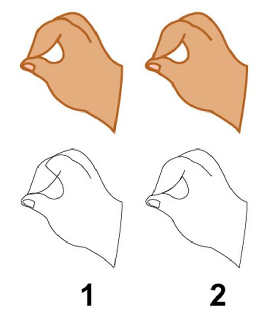 第五步 这边我顺便说一些制作时候的小技巧,勾线方面的一些技巧。 以手为例,从颜色图来看是一样的,转成线稿模式的时候大家就能看清楚,第一种方法更加人性化一点,在以后的修改和调整会比较方便,第2种方法虽然效果是一样,但是不利于修改,如果图象过于复杂,务必会增加不必要的劳动力,效率就会大大下降。(图06)