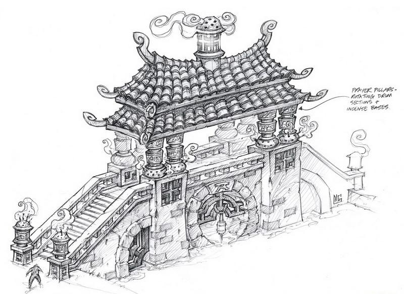 暴雪画廊《熊猫人之谜》中国风建筑原画