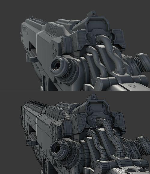 顽皮狗环境设计师展示科幻3d渲染枪模